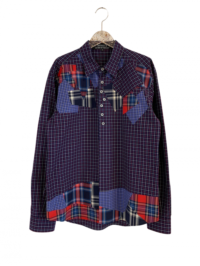 『ANREALAGE』Gravity patchwork shirt