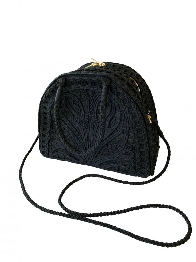 『Mame Kurogouchi』コード刺繍半月型ハンドバッグ/Cording Embroidery Demi Lune Handbag