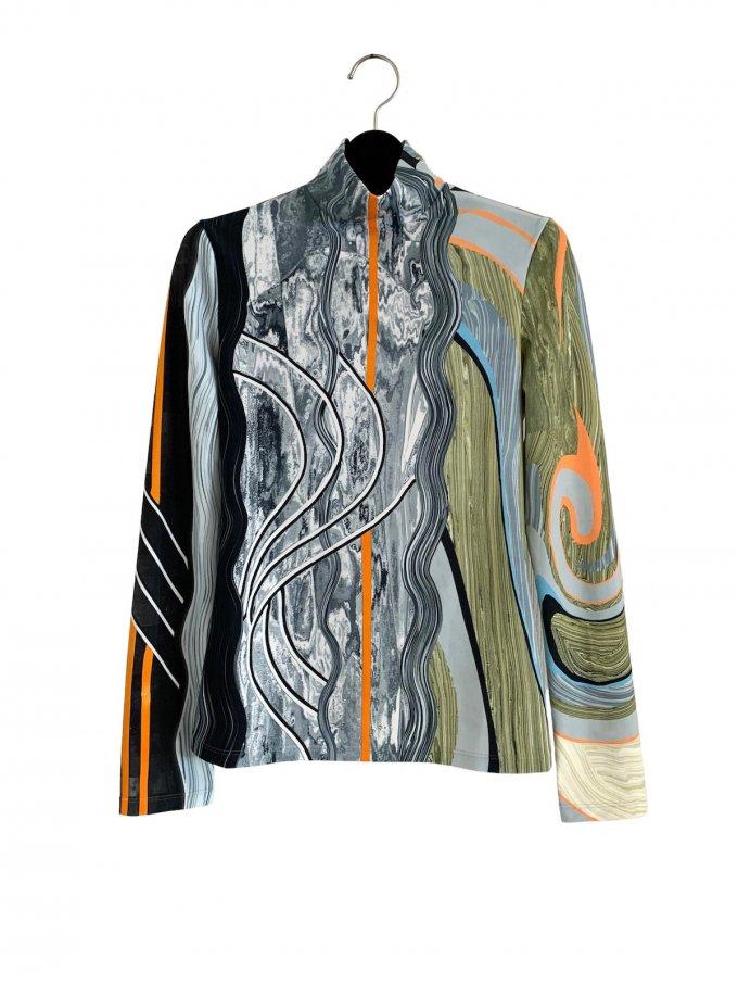 『Mame Kurogouchi』マーブルプリントジャージートップス/Marble Print Jersey Top