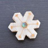 水牛の角製帯留め 雪の結晶