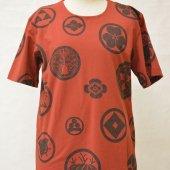 和柄Tシャツ 家紋散らし 赤