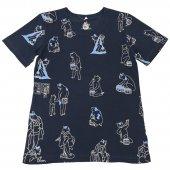 和柄Tシャツ 湯汲み猫(White・Navy blue)