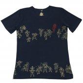 和柄Tシャツ 猫並べ(Navy blue)