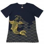 和柄Tシャツ 鯉の滝登り(Navy blue)