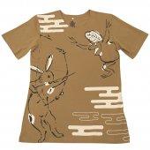 和柄Tシャツ 兎の勝ち(Beige)
