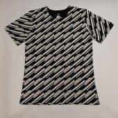 和柄Tシャツ 変わり縞 白