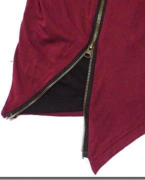 変形アシンメトリーデザインの斜めジッパー切替フード付きフェイクレイヤード5分袖カットソー