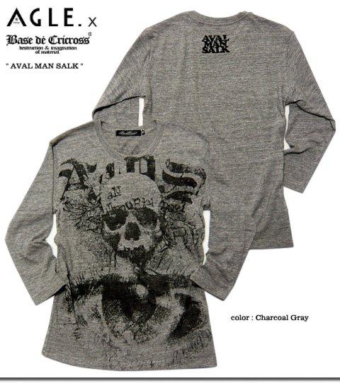 長年着古した様な絶妙のカスレプリントに混紡素材で着心地抜群のコラボスカル7分袖Tシャツ!