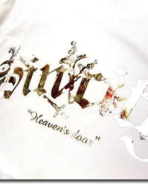 EVERSOUL特注の古代箔プリント!バイオウォッシュ加工が高級感のあるシンプルロゴTシャツ!