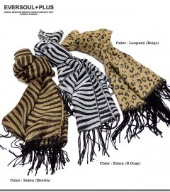 柔らかくて肌触り抜群!一枚は欲しい上質なアニマル総柄ジャガード織マフラー!
