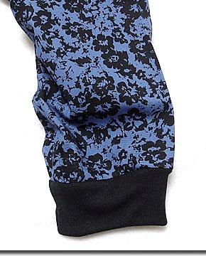 小花柄が今年流!前生地を重ねた合わせた変形シルエットの飾りベルト付き花柄サルエルパンツ!