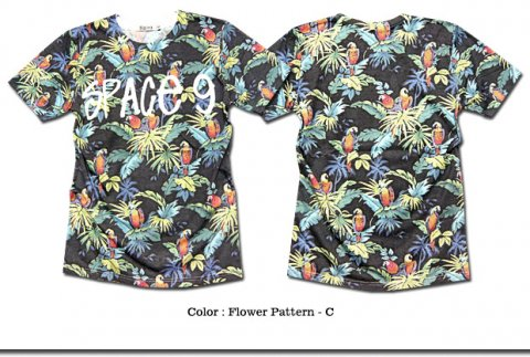 リゾート感溢れる鮮やさ!フルカラーの花柄プリントがインパクト抜群でオシャレな総柄Tシャツ!