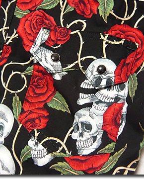 大人なロックスタイルに!スカル&ローズ総柄プリントのロックな半袖ウエスタンシャツ!