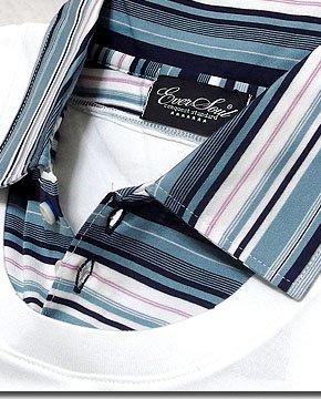 日本製で美シルエット!ボーダーシャツを重ね着した様なフェイクレイヤードデザインのポロTシャツ!