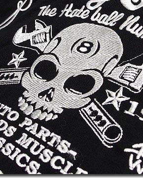 豪華な刺繍が価値観大!BILLY EIGHTのモーターサイクルバイカー刺繍ロカビリー半袖シャツ!