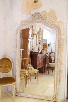 デコラティブ ホワイトミラー 全身鏡