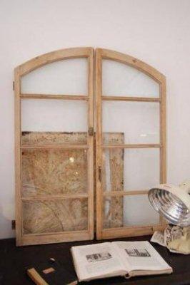 イギリス アンティーク アーチガラス窓・ペア・b