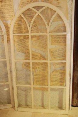 アンティーク ペイントアーチ ガラス窓・b