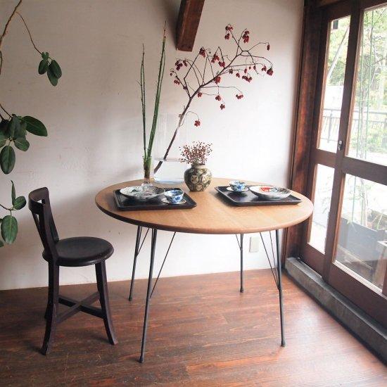 ダイニングテーブル(楢/鉄脚/丸)