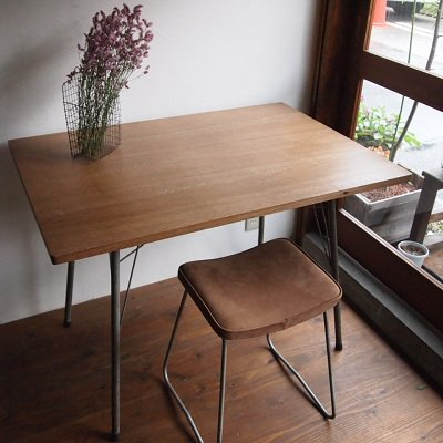 楢テーブル(鉄脚)
