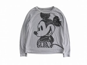 【L】 00's ディズニー ミッキーマウス カットソー スウェット レディース古着 キャラクター ミッキー 灰色 Disney MickeyMouse<img class='new_mark_img2' src='//img.shop-pro.jp/img/new/icons1.gif' style='border:none;display:inline;margin:0px;padding:0px;width:auto;' />