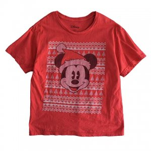 【S】 10's ディズニー ミッキーマウス キャラクターTシャツ クリスマス Disney Mickey Mouse 赤色 キッズXL レディースS相当 アメリカ古着<img class='new_mark_img2' src='//img.shop-pro.jp/img/new/icons5.gif' style='border:none;display:inline;margin:0px;padding:0px;width:auto;' />