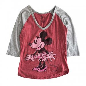 【S】 10's ディズニー ミニーマウス キャラクターTシャツ ラグランTシャツ Disney Minnie Mouse キッズL レディースS相当 アメリカ古着<img class='new_mark_img2' src='//img.shop-pro.jp/img/new/icons5.gif' style='border:none;display:inline;margin:0px;padding:0px;width:auto;' />