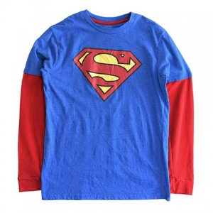 【S/M】 10's スーパーマン 長袖 キャラクターTシャツ 重ね着 SUPERMAN キッズ用 レディースS/M相当 Tシャツ ハロウィン 古着 アメリカ古着 <img class='new_mark_img2' src='//img.shop-pro.jp/img/new/icons5.gif' style='border:none;display:inline;margin:0px;padding:0px;width:auto;' />