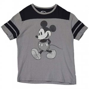 【S/M】 10's ディズニー ミッキーマウス フットボールTシャツ Disney MickeyMouse 黒灰 S/Mサイズ 古着 Tシャツ アメリカ古着<img class='new_mark_img2' src='//img.shop-pro.jp/img/new/icons5.gif' style='border:none;display:inline;margin:0px;padding:0px;width:auto;' />