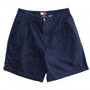 【W32】 00's トミーヒルフィガー ハーフパンツ TOMMY HILFIGER 紺色 2タック サイズ32 実寸W32 アメリカ古着