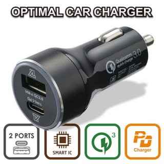 OPTIMAL CAR CHARGER PD+QC (USB-C & USB-A) MAX45W