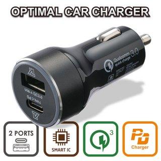 OPTIMAL CAR CHARGER PD+QC (USB-C & USB-A) MAX45W
