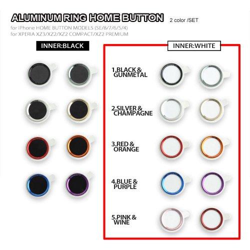 ○ホワイト:アルミリングホームボタン(iPhone SE/8/7/6S/PLUS/5S, XPERIA-XZ3/XZ2)