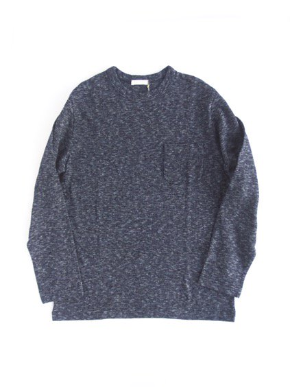 niuhans  Indigo Melange Long Sleeve Pocket  Tee (Dark Indigo)