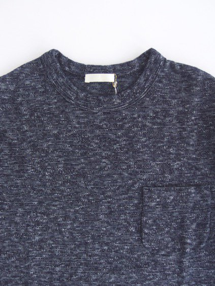 niuhans  Indigo Melange Long Sleeve Pocket  Tee (Dark Indigo)2