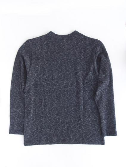 niuhans  Indigo Melange Long Sleeve Pocket  Tee (Dark Indigo)3