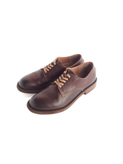 LEATHER&SILVER MOTO PLAIN TOE OXFORD SHOES (BROWN)