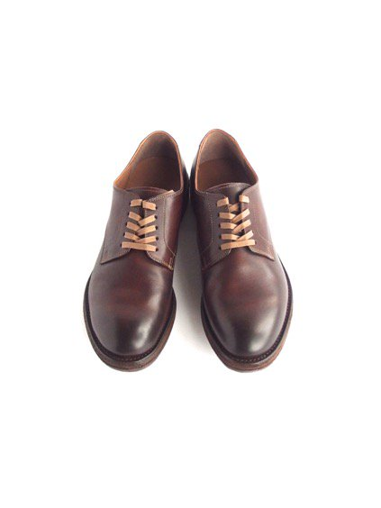 LEATHER&SILVER MOTO PLAIN TOE OXFORD SHOES (BROWN)2