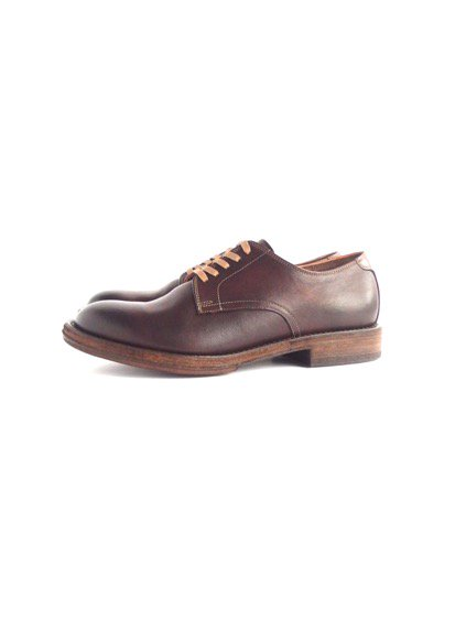LEATHER&SILVER MOTO PLAIN TOE OXFORD SHOES (BROWN)3