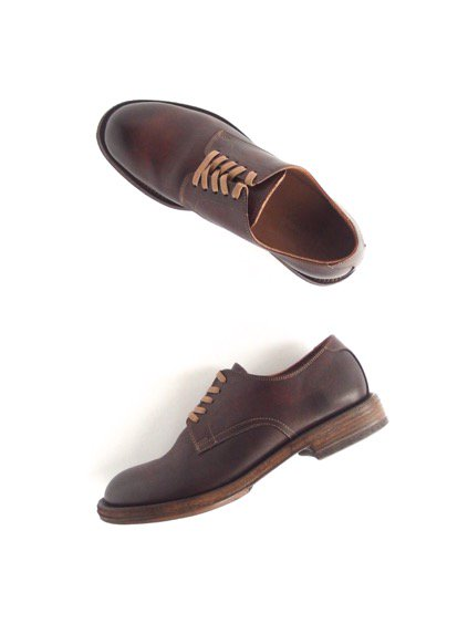 LEATHER&SILVER MOTO PLAIN TOE OXFORD SHOES (BROWN)4