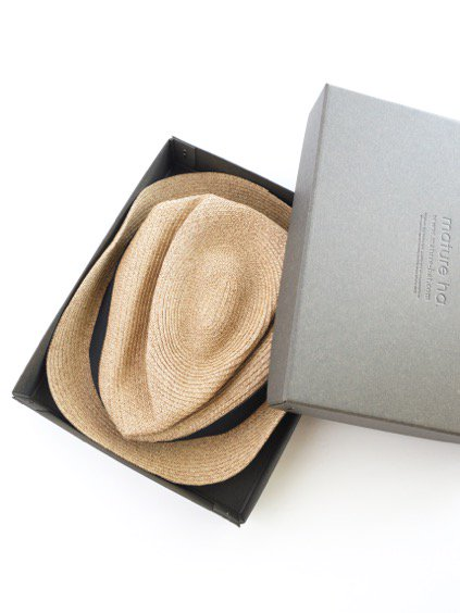 mature ha. BOXED HAT 4.5cm brim grosgrain ribbon (Mix Brown×Black)3
