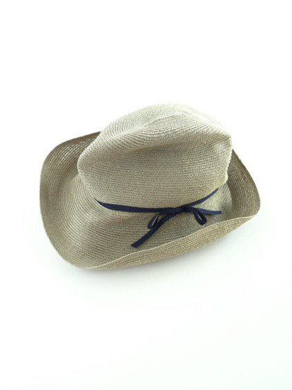 mature ha. BOXED HAT abaca  9cm brim  (Khaki×Navy)