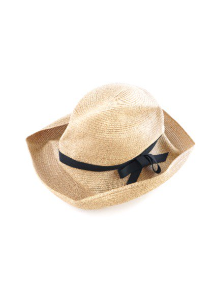 mature ha. BOXED HAT 11cm brim grosgrain ribbon (Mix Browni×Black)