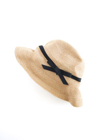 mature ha. BOXED HAT 11cm brim grosgrain ribbon (Mix Browni×Black)2