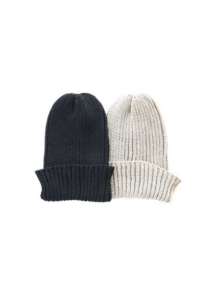 mature ha. Knit cap linen (Black)(Greige)