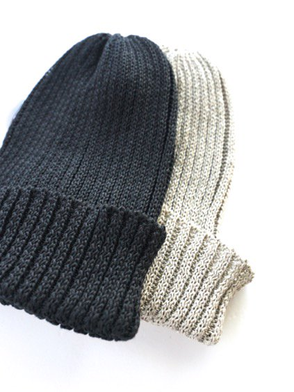 mature ha. Knit cap linen (Black)(Greige)2