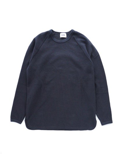 BLURHMS   ROUGH&SMOOTH THERMAL LOOSE FIT RAGLAN L/S (BLACK NAVY)1