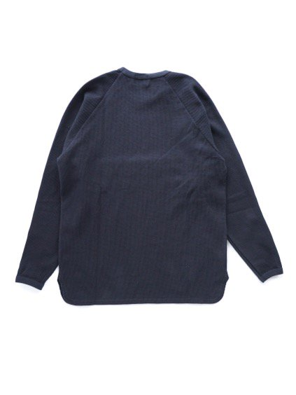 BLURHMS   ROUGH&SMOOTH THERMAL LOOSE FIT RAGLAN L/S (BLACK NAVY)4