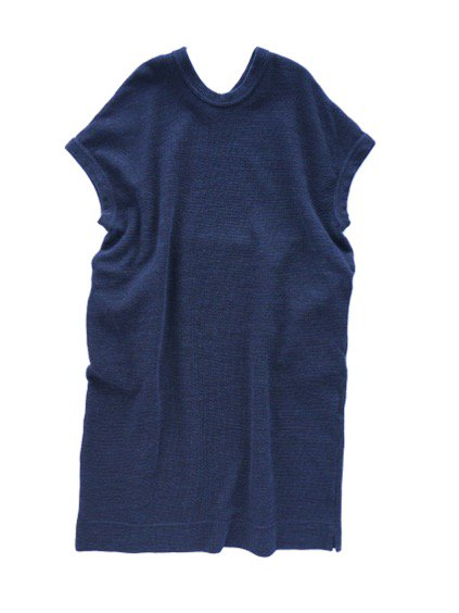 NO CONTROL AIR WOOL TOP BLOCK KNIT ONE PIECE  (navy top)