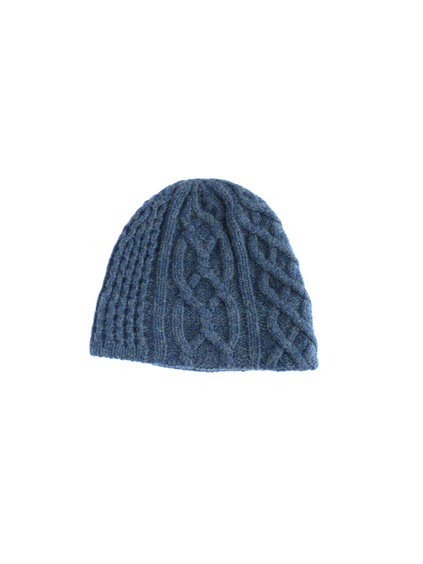 mature ha. slant cutting knit cap aran 2 long lamb (Dark blue green)